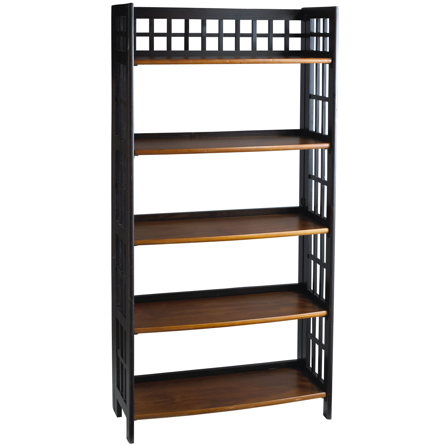 Fretted Rubbed Black Tall Folding Shelf