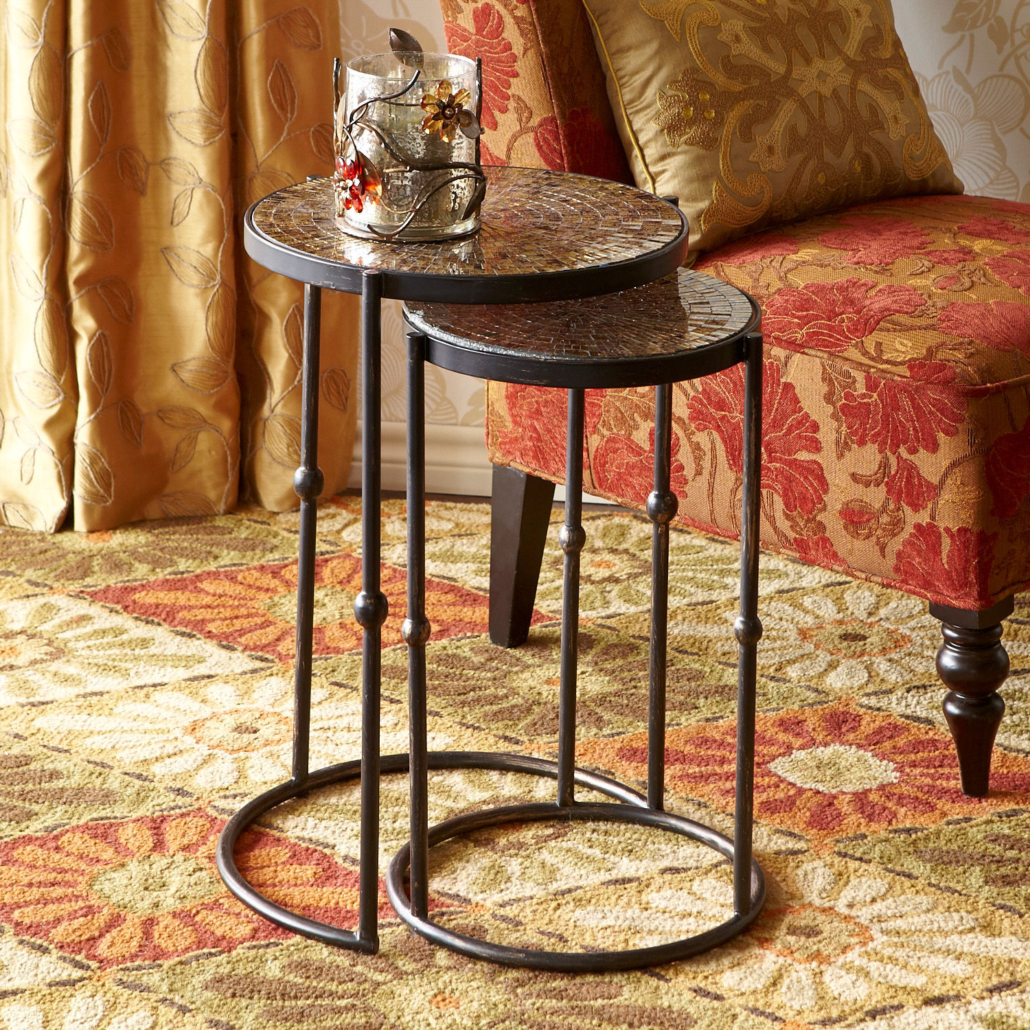Mosaic Gold Nesting Tables