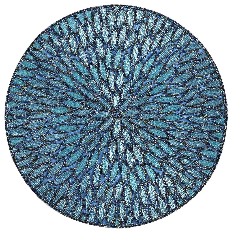 Beaded Aqua Round Placemat