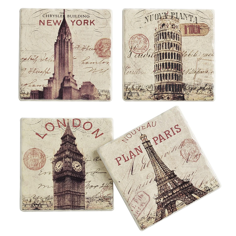 City Sandstone Coasters - set of 4