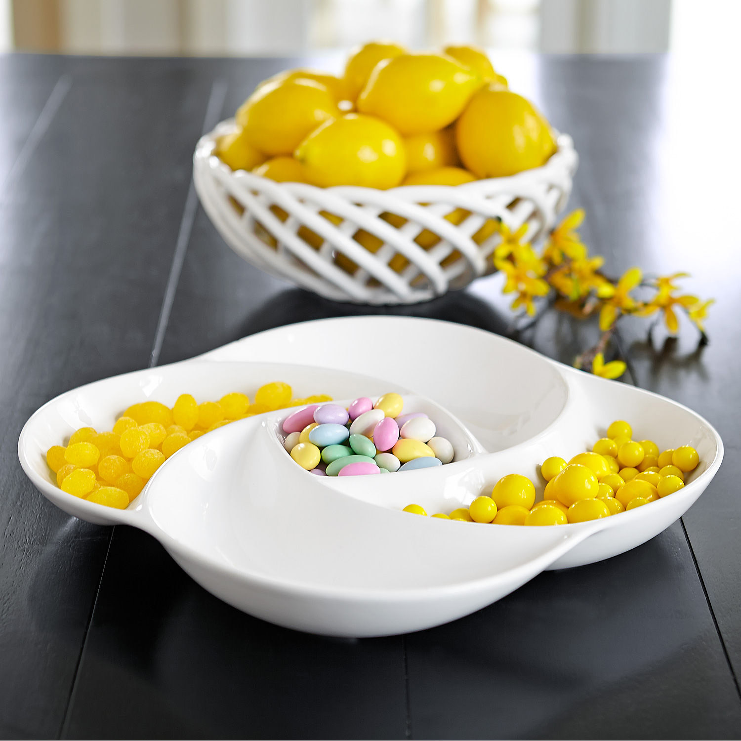 White Divided Serving Dish