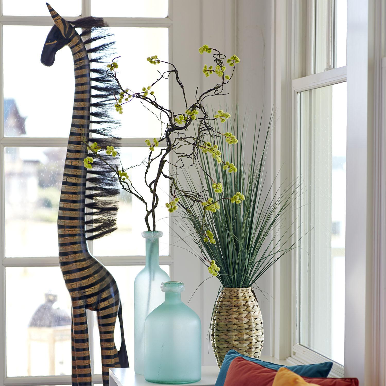 Wood Carved Metallic Zebra