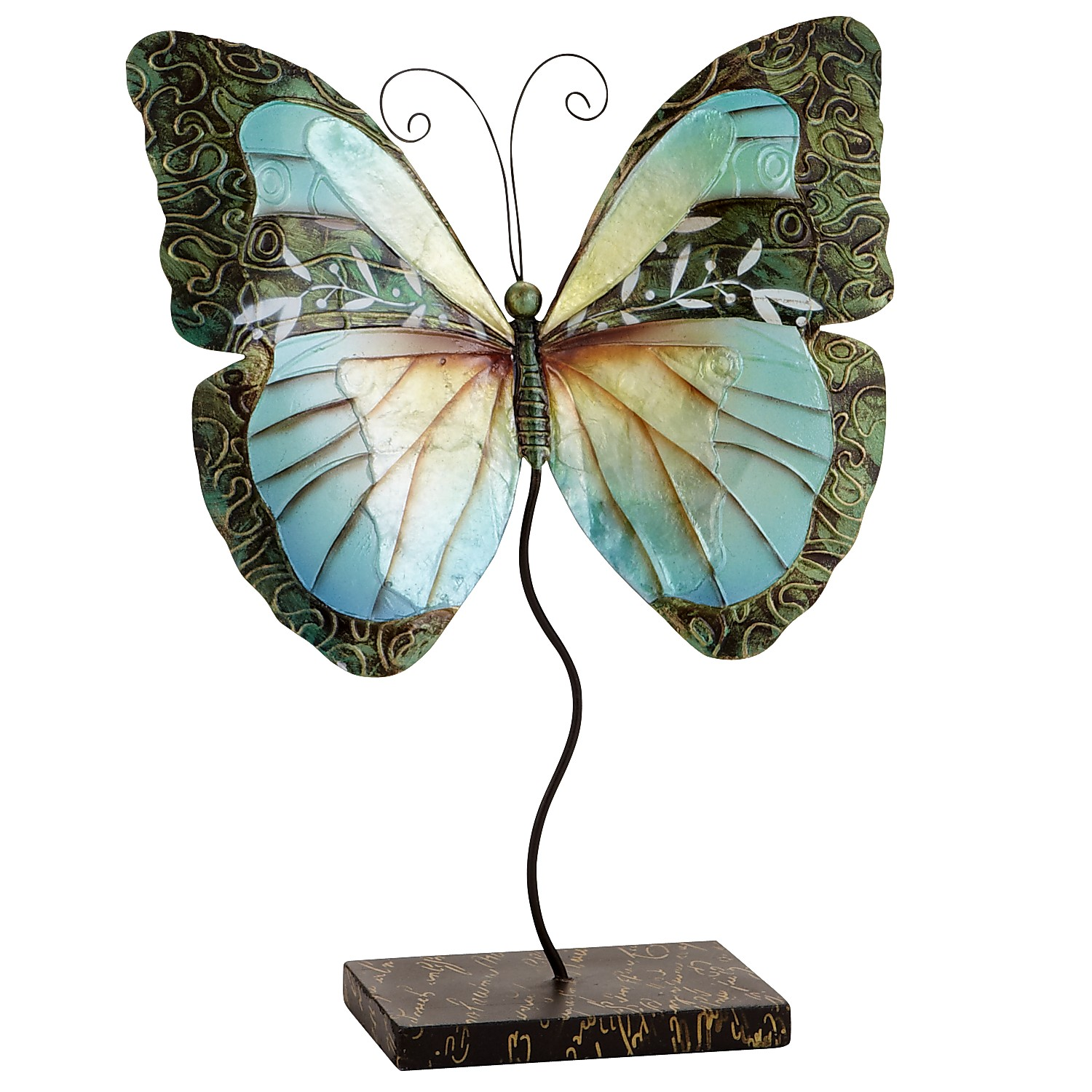 Mini Capiz Butterfly with Stand - Turquoise