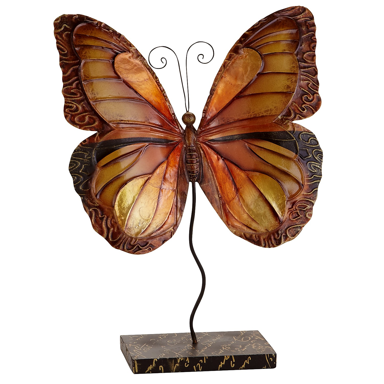 Mini Capiz Butterfly with Stand - Amber