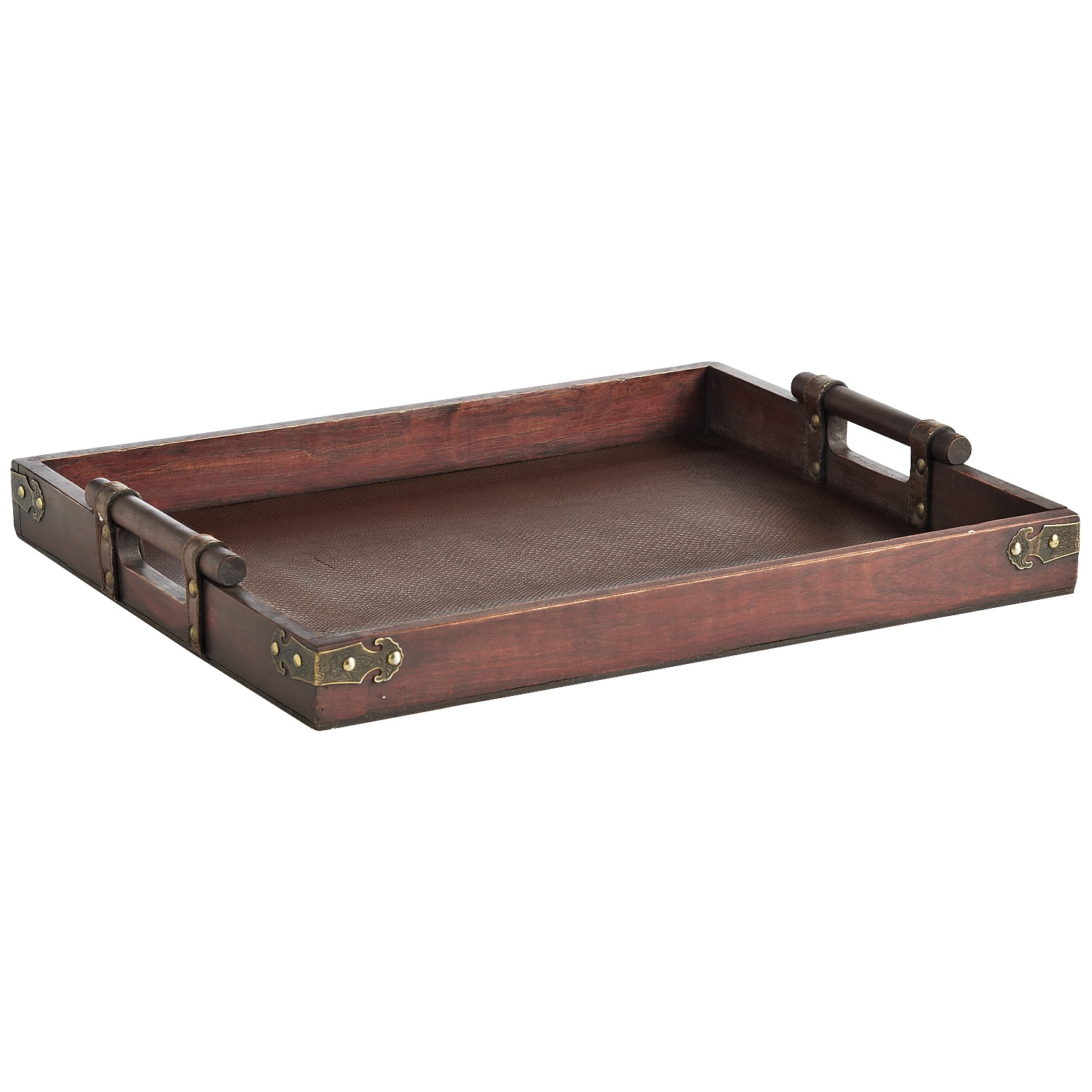 Faux Snake & Leather Wooden Tray
