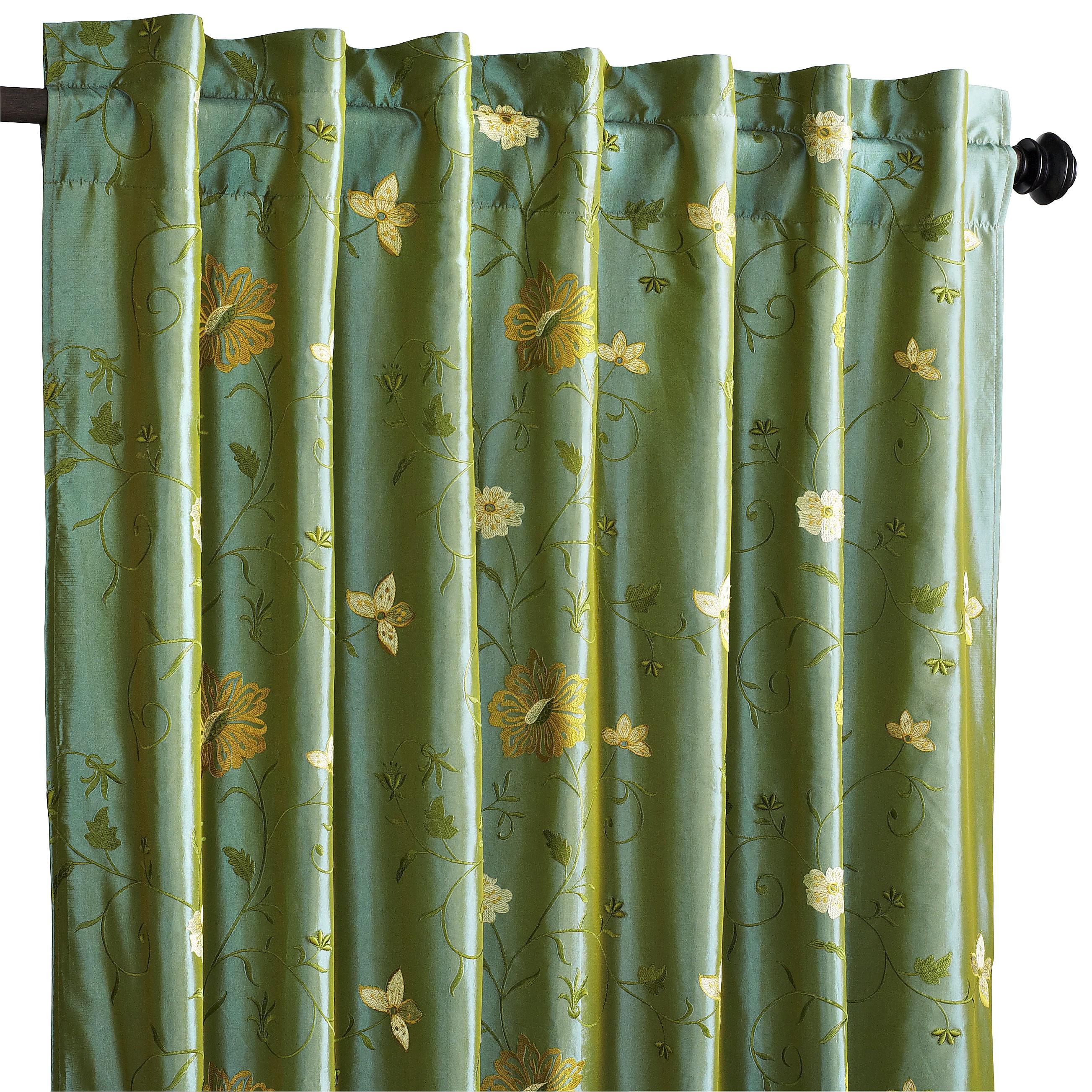 """Celadon Floral Curtain - 96"""""""