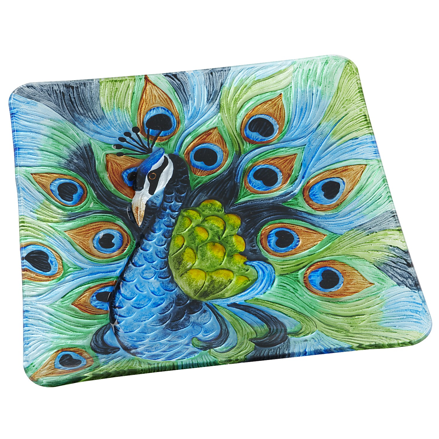 Square Peacock Serving Platter
