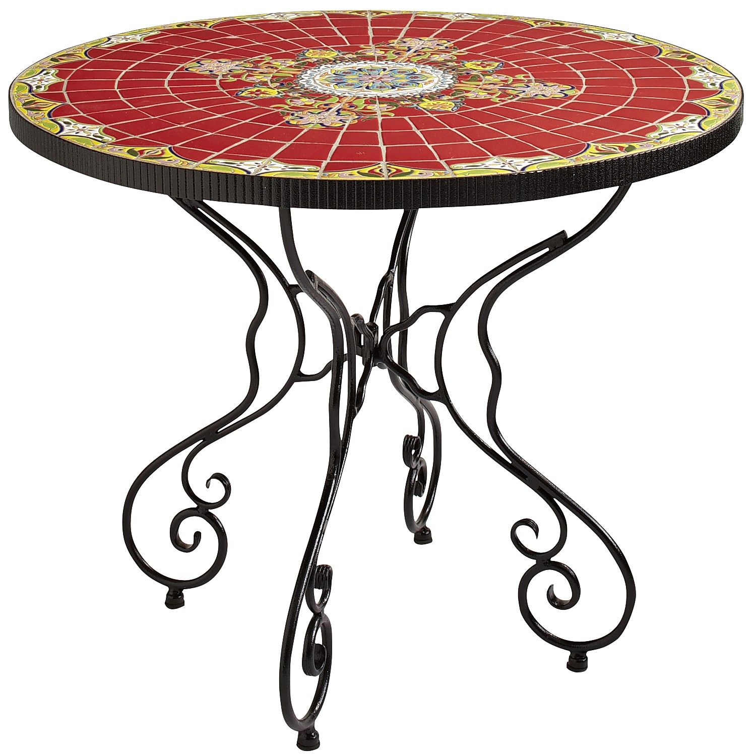 """Rania 36"""" Red Round Dining Table"""
