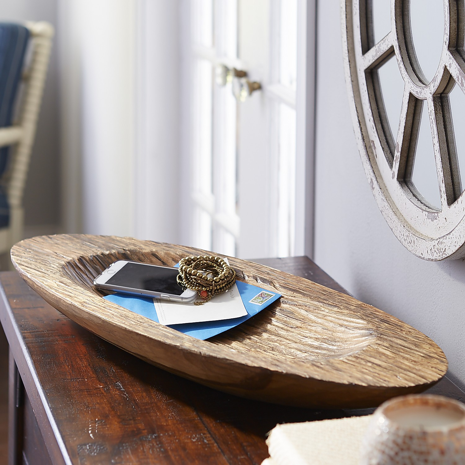 Carved Wooden Oval Decorative Bowl