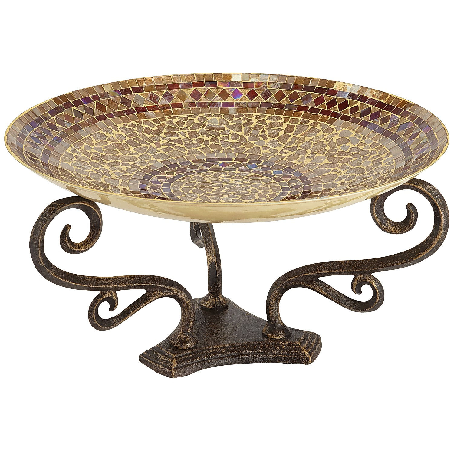 Champagne Decorative Mosaic Bowl with Stand