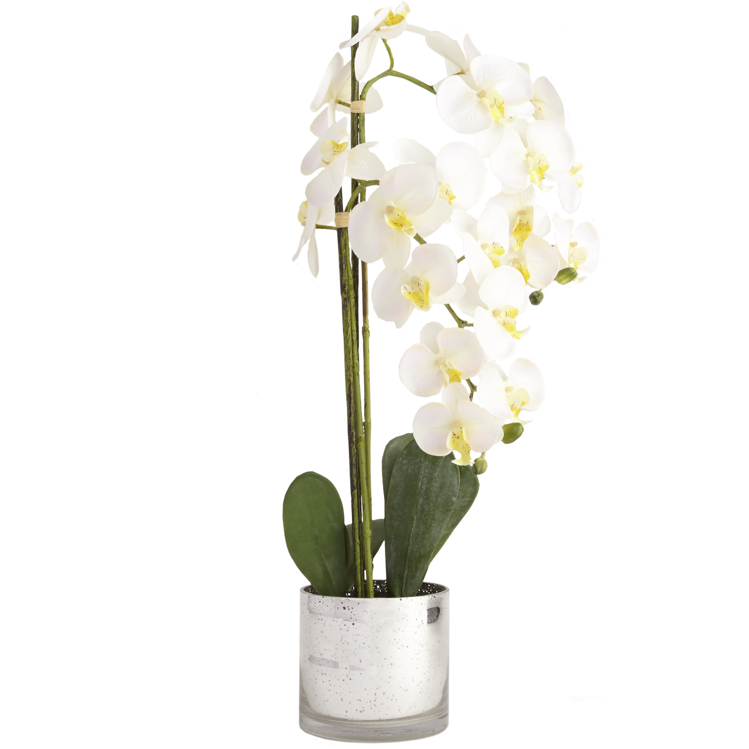 Faux Orchid Mercury Glass Arrangement