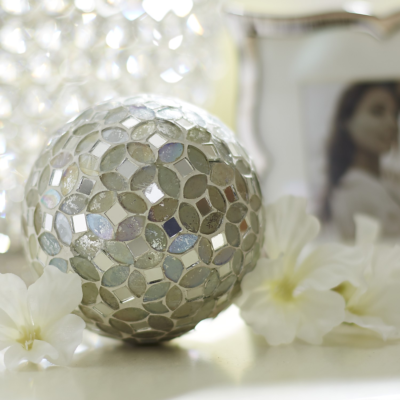 White & Silver Mosaic Sphere