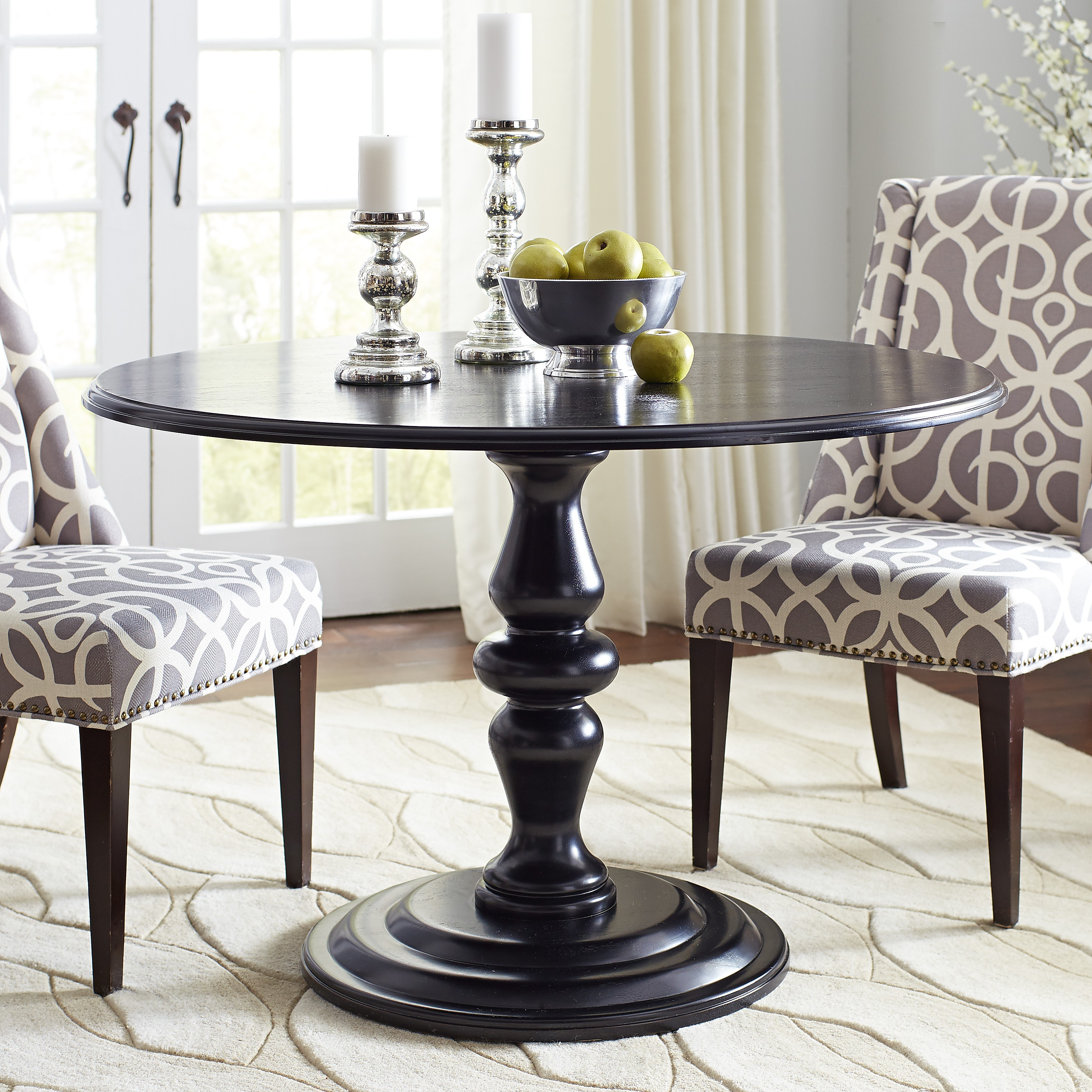 Jeremy Round Pedestal Table - Rubbed Black