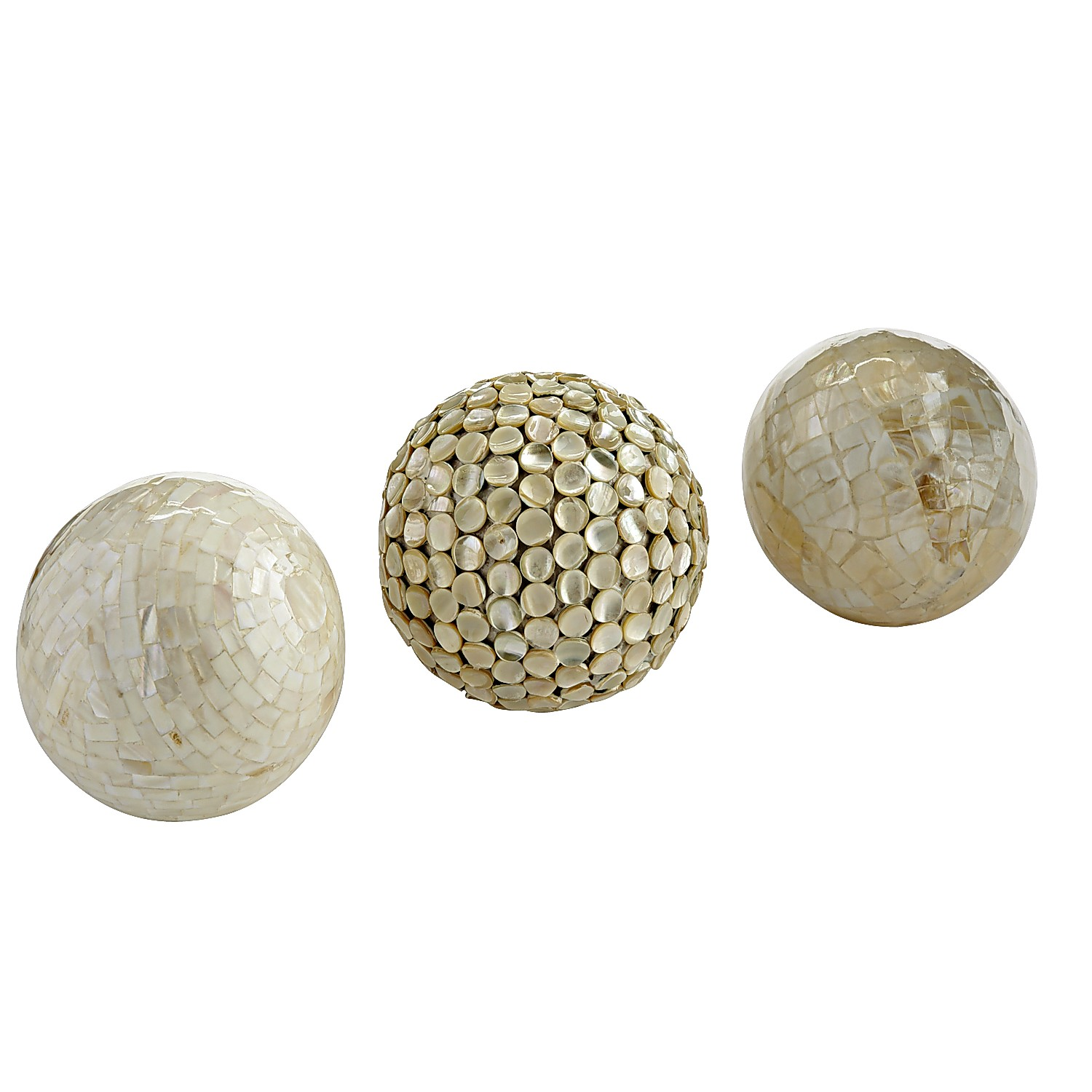 Mother-of-Pearl Sphere Set of 3