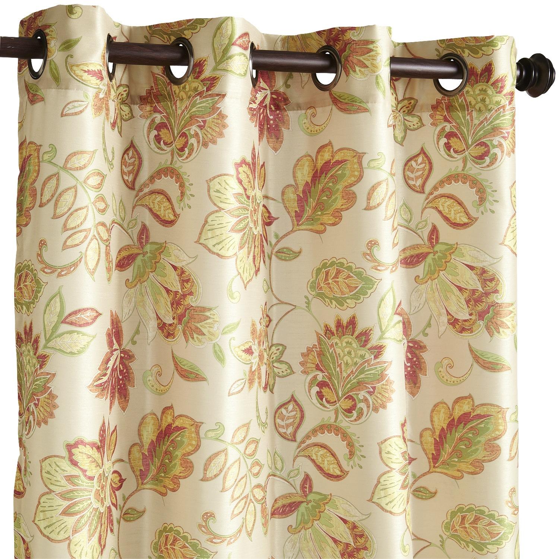 "Glencove Floral Grommet Spice 120"" Curtain"