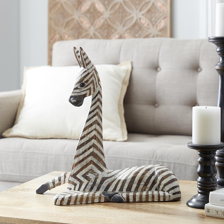 Wooden Sitting Zebra