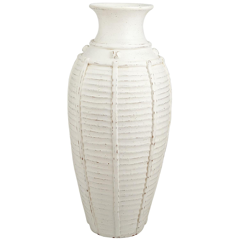 Ivory Ribbed Floor Vase