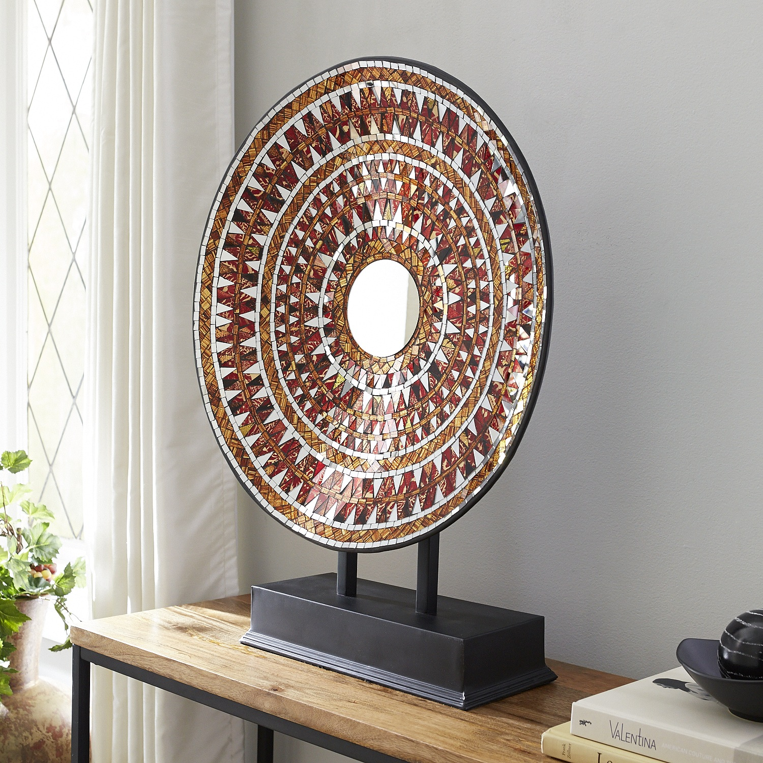 Red & Gold Mosaic Platter with Stand