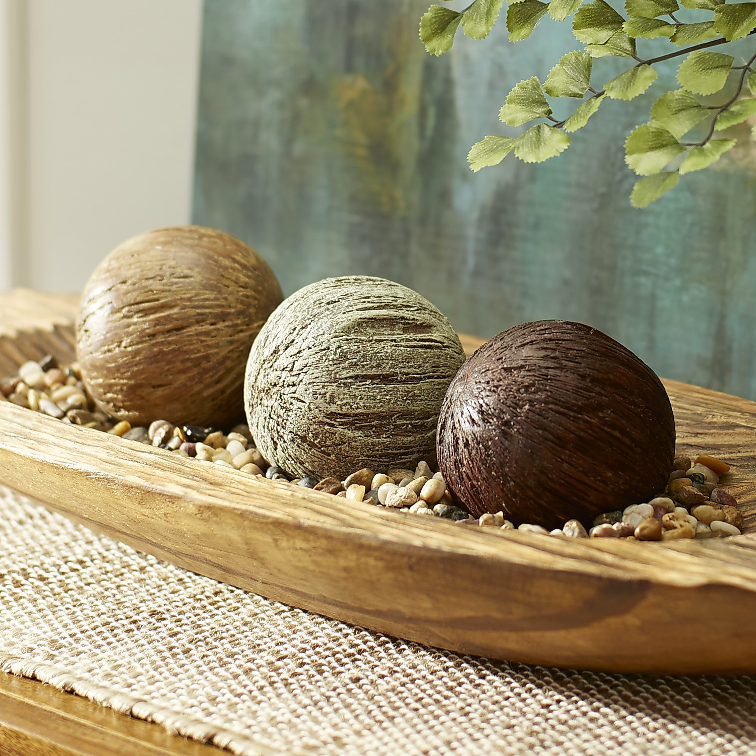 Carved Wood Sphere Set