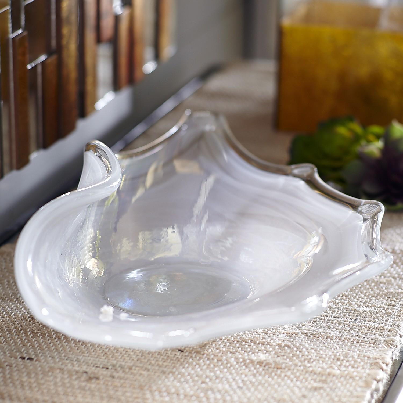 White Free-Form Glass Bowl