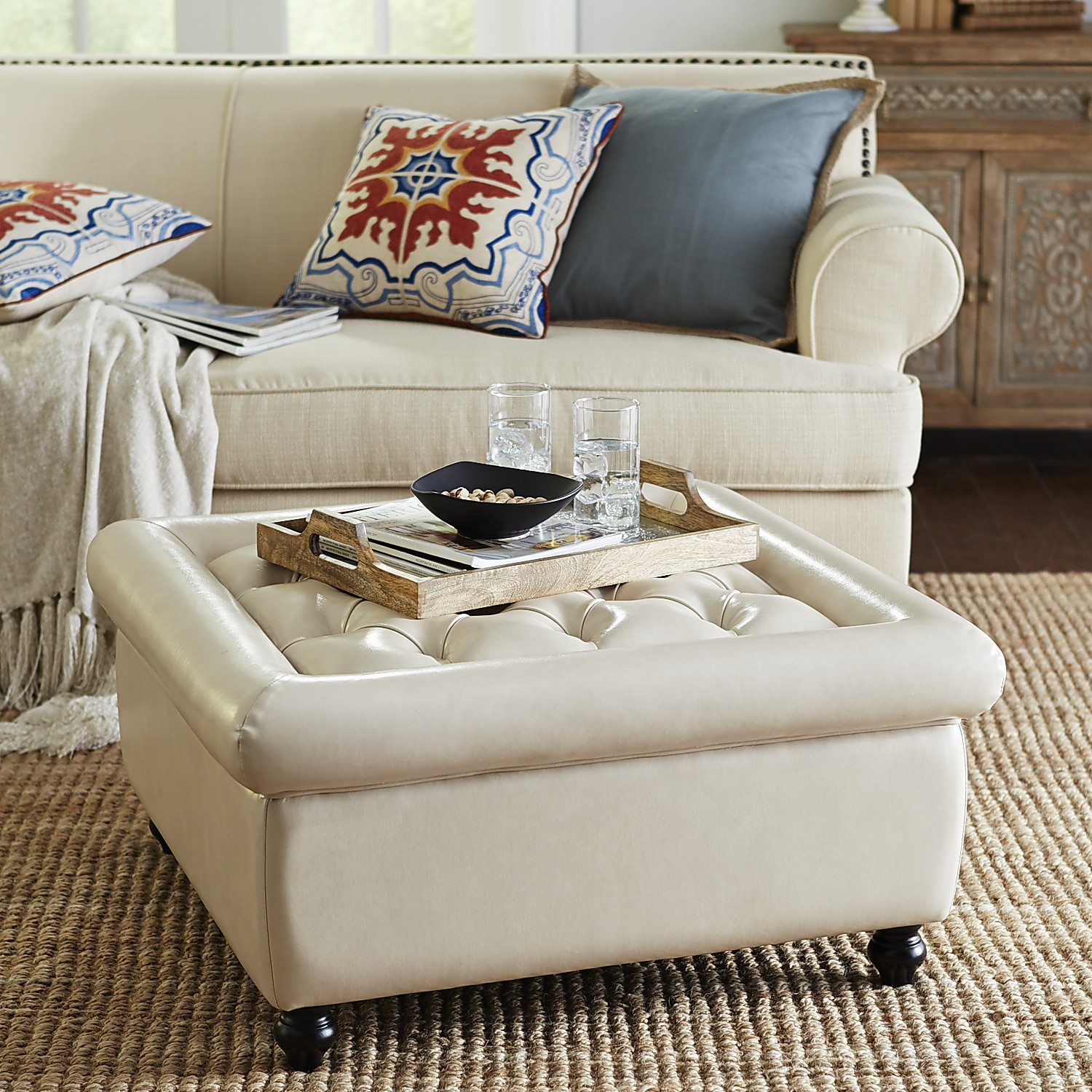 variation thumbnail of Tufted Storage Ottoman - Ivory