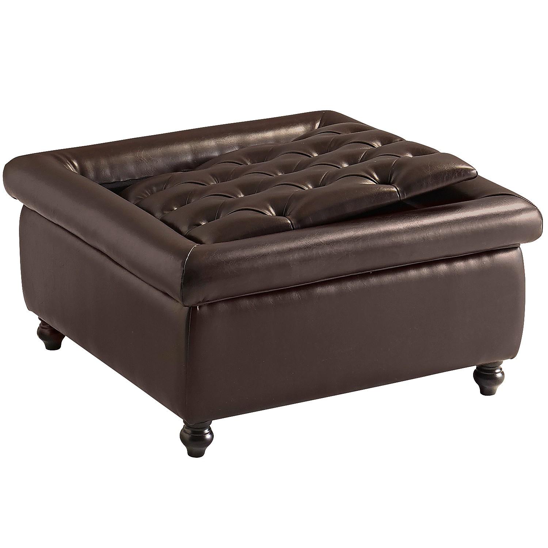 Tufted Storage Ottoman - Brown