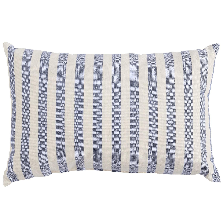Blue Woven Stripe Lumbar Pillow