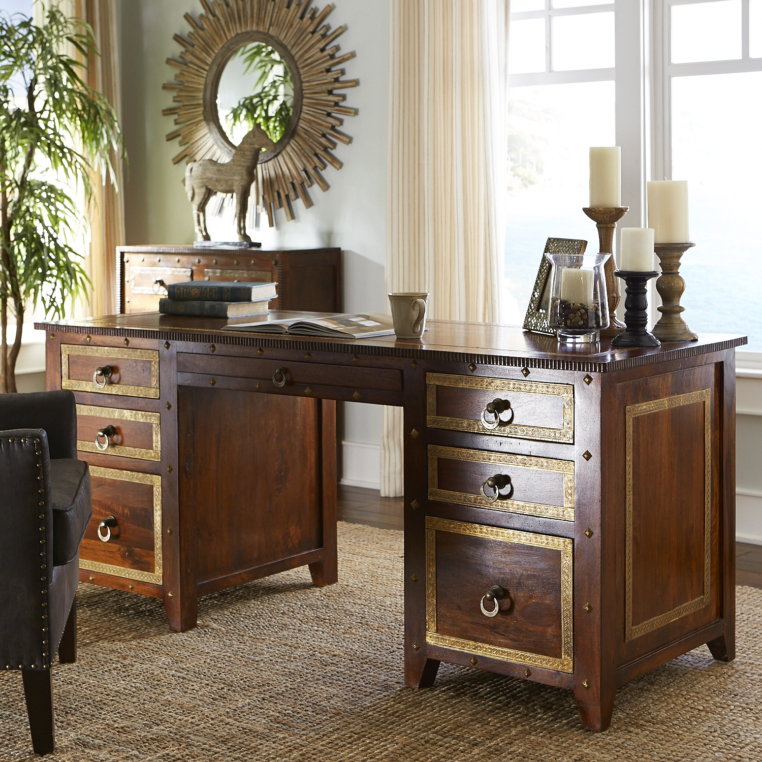 Heera Brown Mango Wood Executive Desk