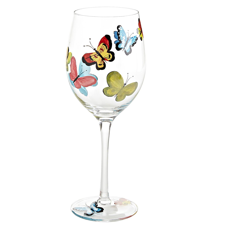 Papillon Painted Wine Glass