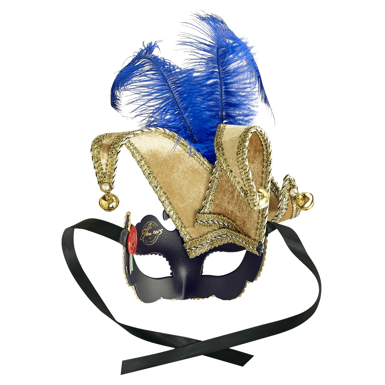 Queen Jester Italian Masquerade Mask - Blue