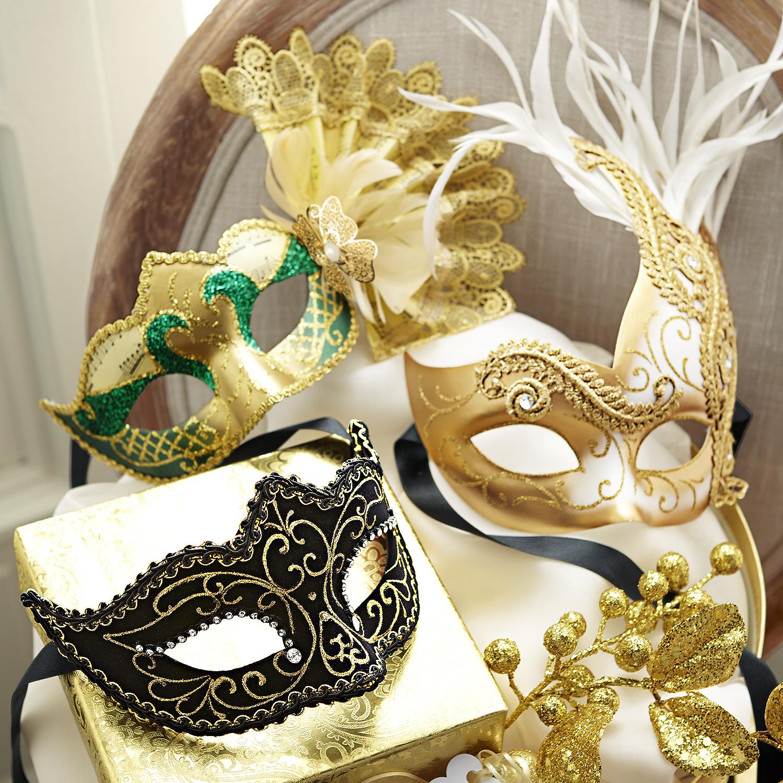 Bina Italian Masquerade Mask - Black & Gold