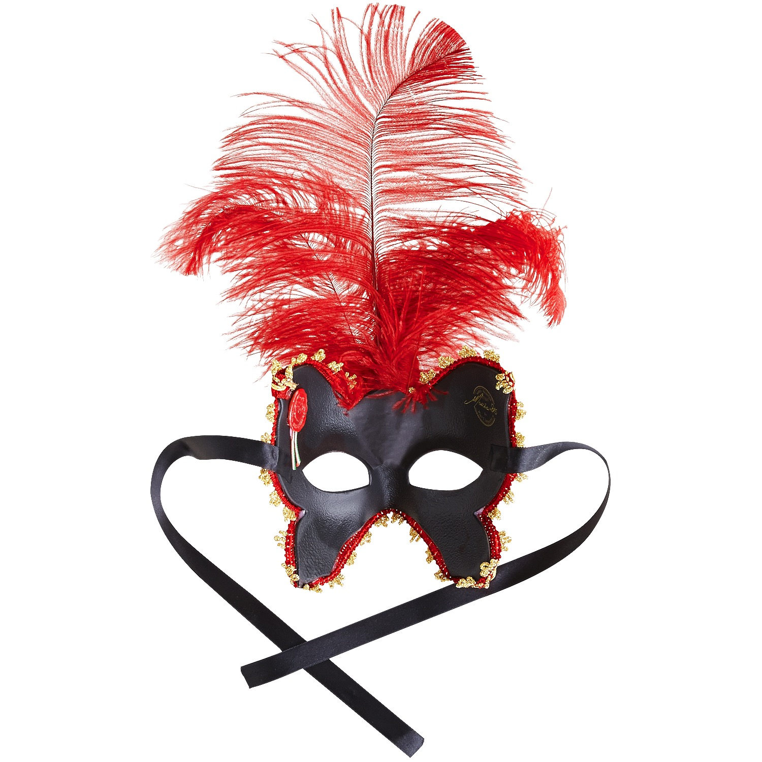 Butterfly Italian Masquerade Mask - Red & Gold
