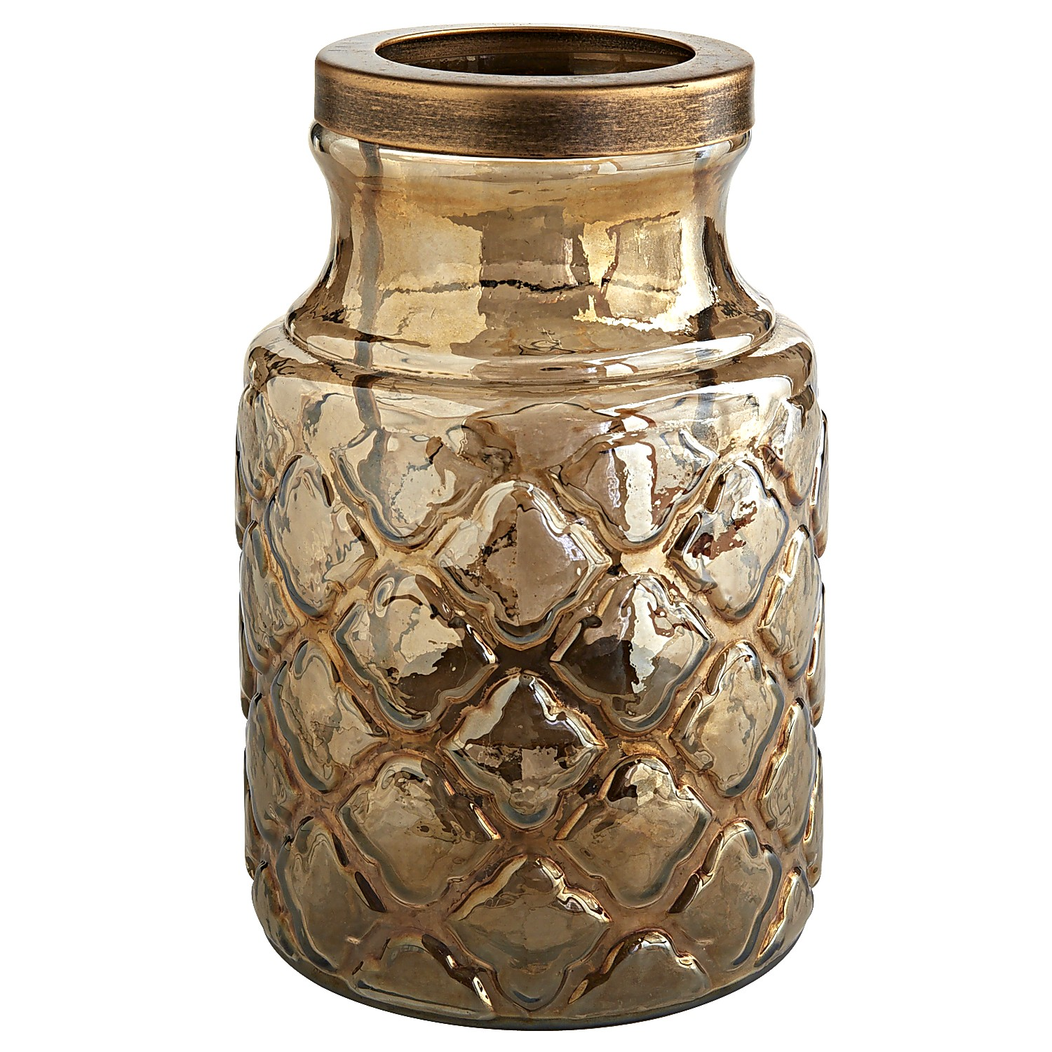 Small Embossed Glass Hurricane Candle Holder