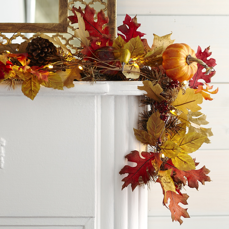 Faux Maple Leaves Pre-Lit Garland