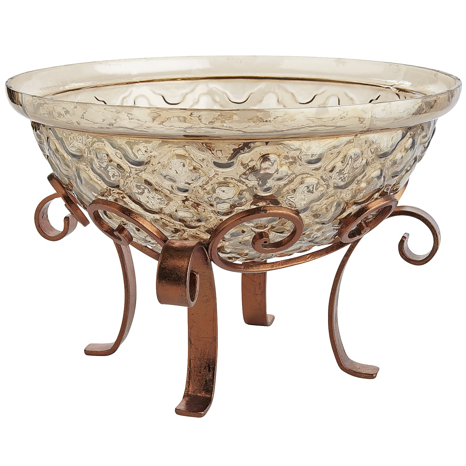 Golden Quatrefoil Decorative Bowl with Stand