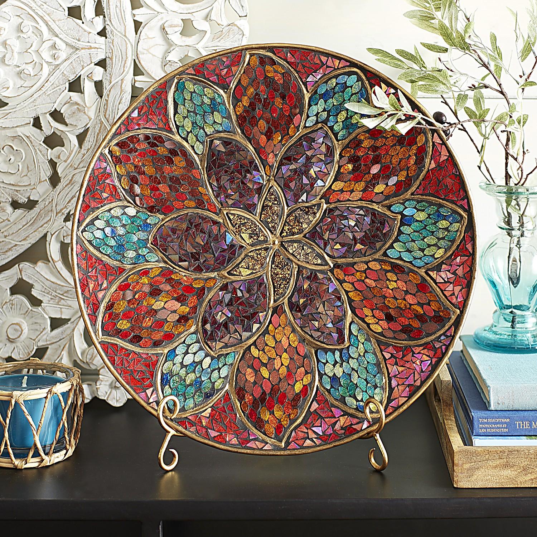 Boho Flower Mosaic Platter