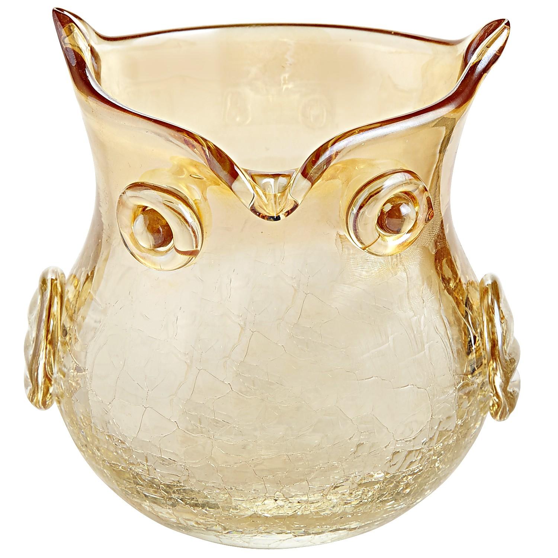 Amber Luster Crackle Owl Votive Holder