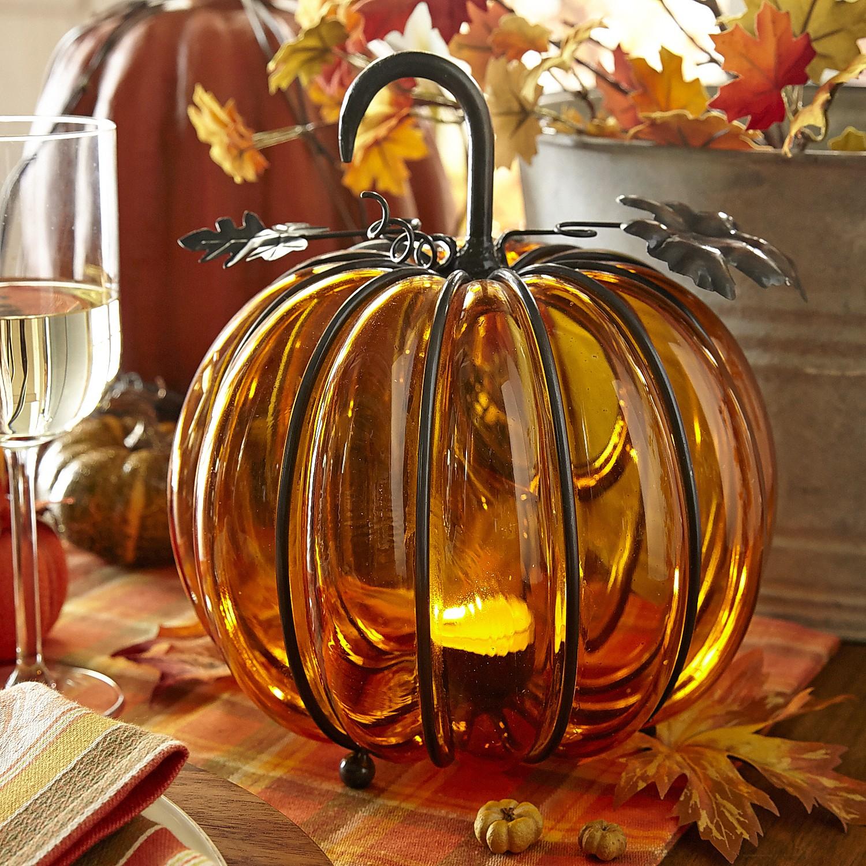 Encased Glass Pumpkin Tealight Holder