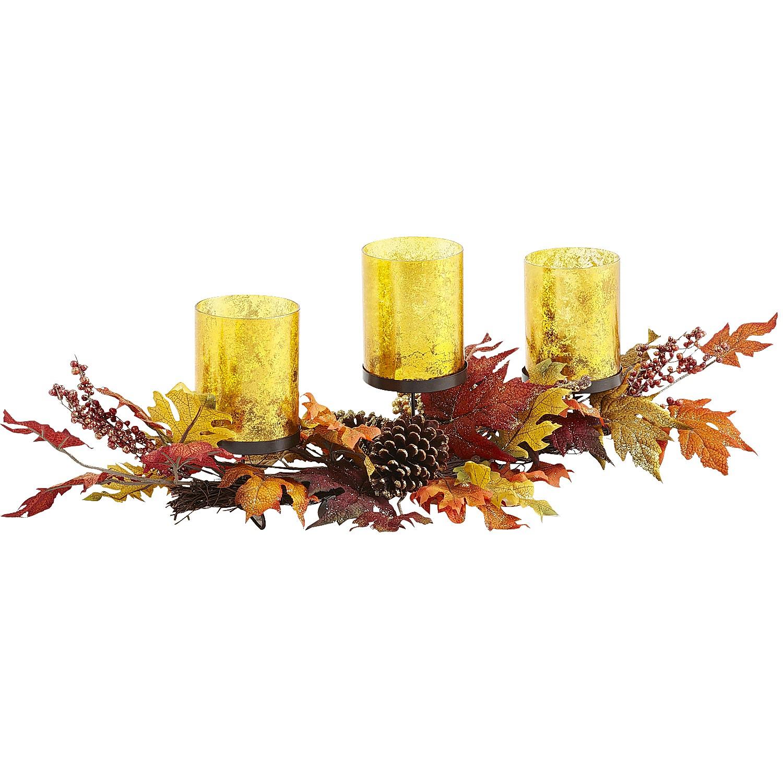 Glitter Leaf Pillar Centerpiece
