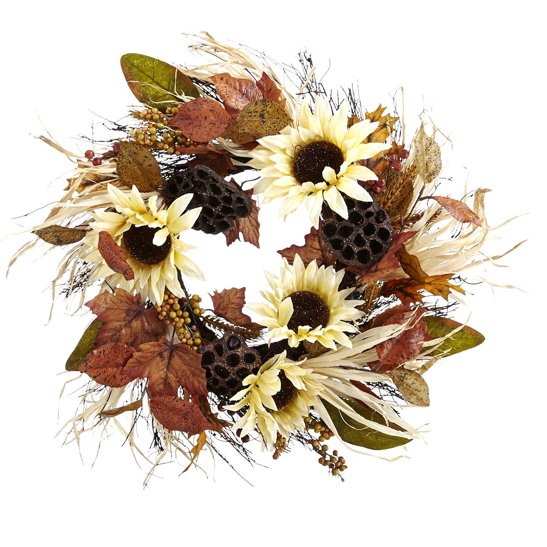 Faux Sunflower & Lotus Pod Wreath