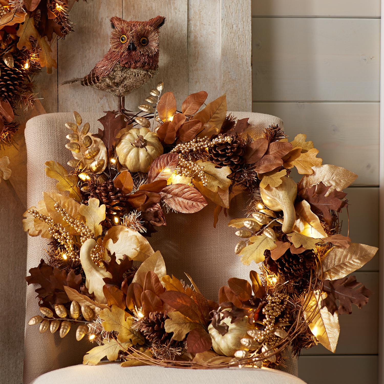 Faux Gourd Pre-Lit Wreath