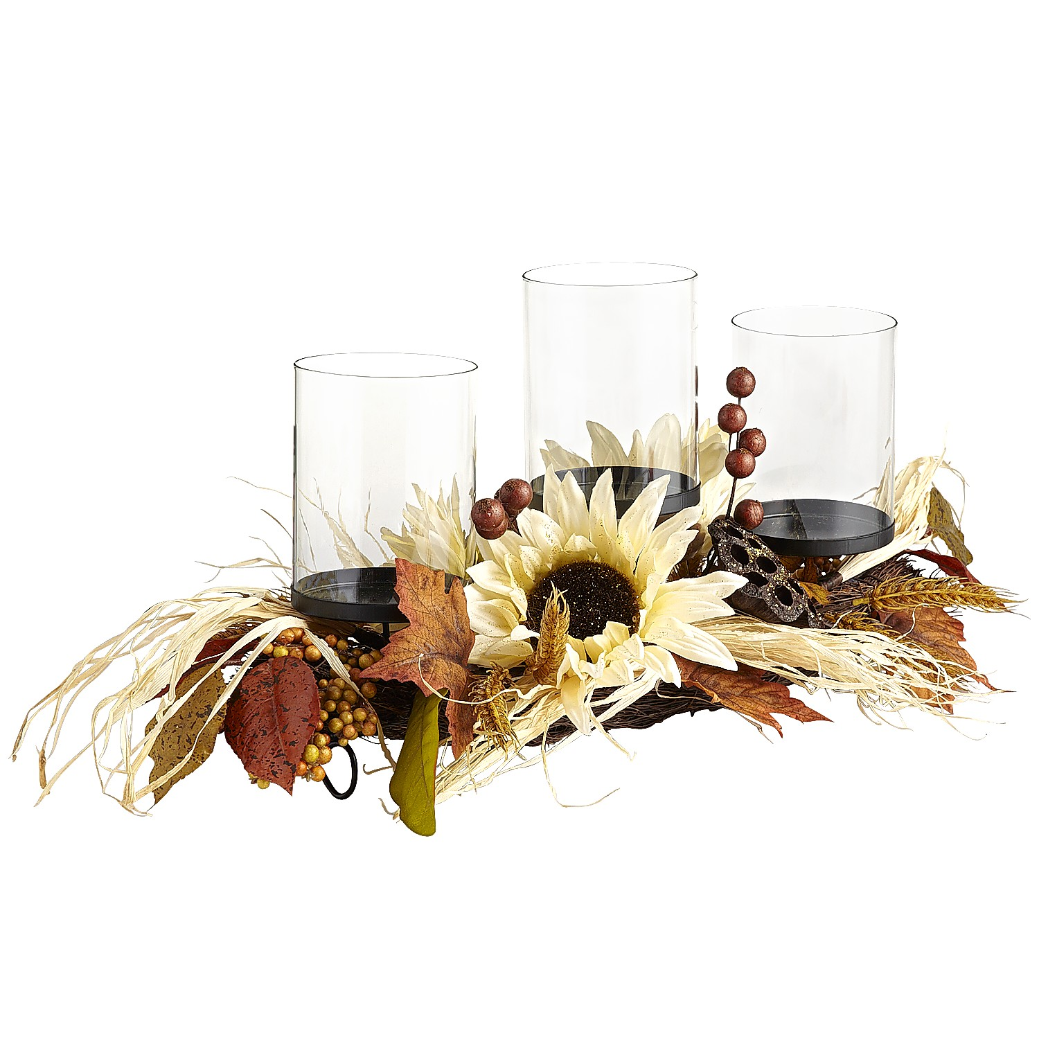 Faux Sunflower Pillar Centerpiece