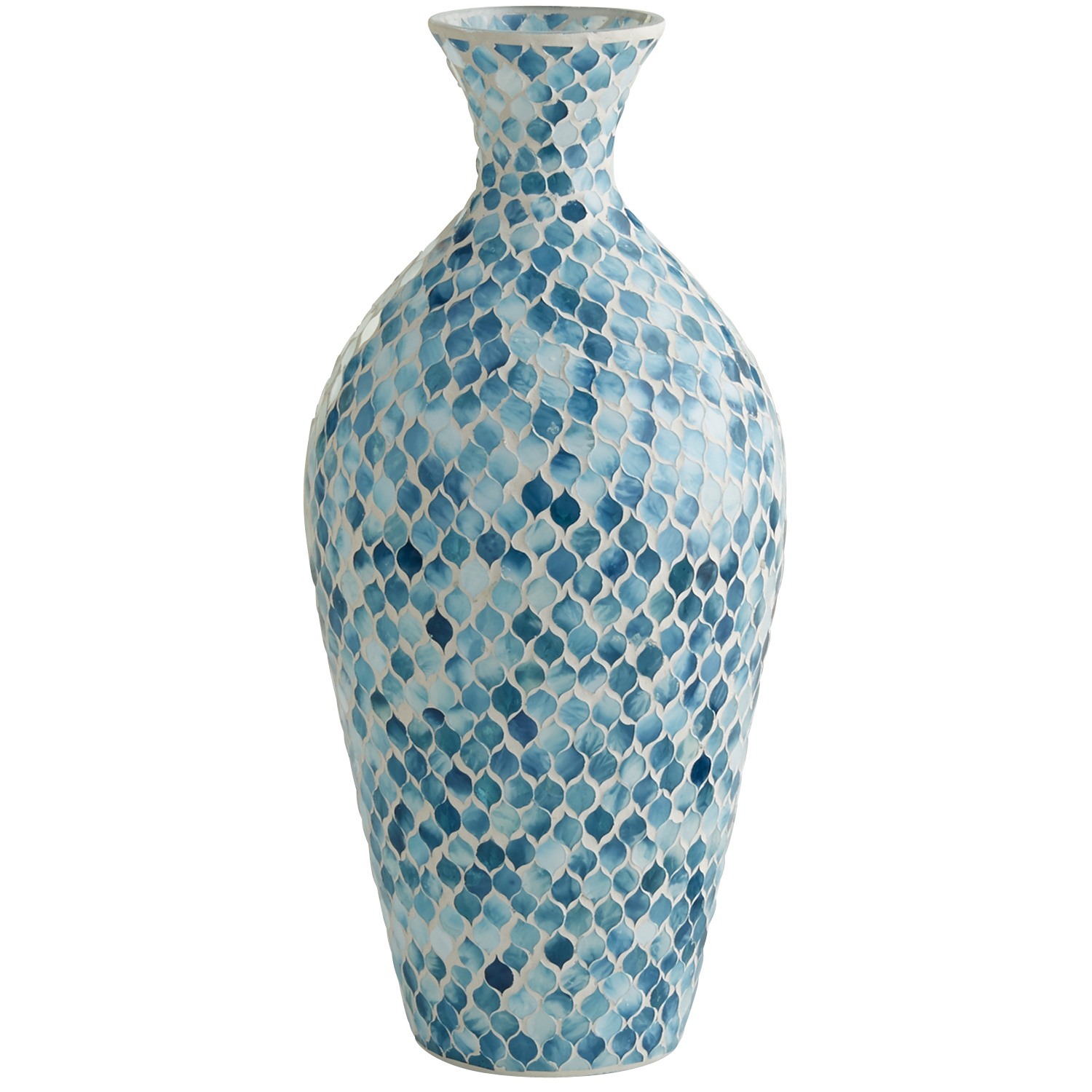 variation thumbnail of Mosaic Urn Vase - Blue & White