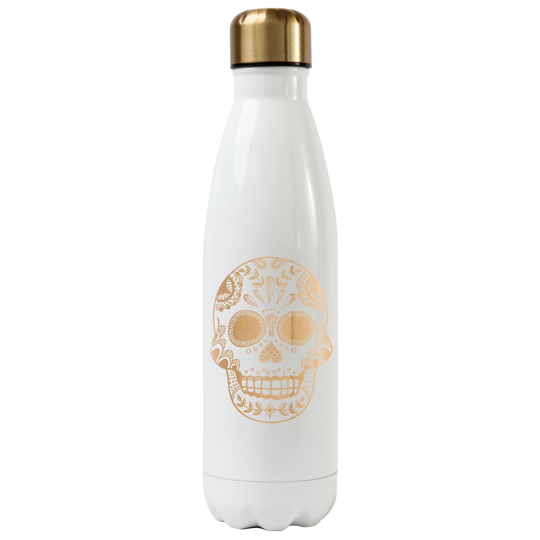 White Sugar Skull Stainless Steel Water Bottle