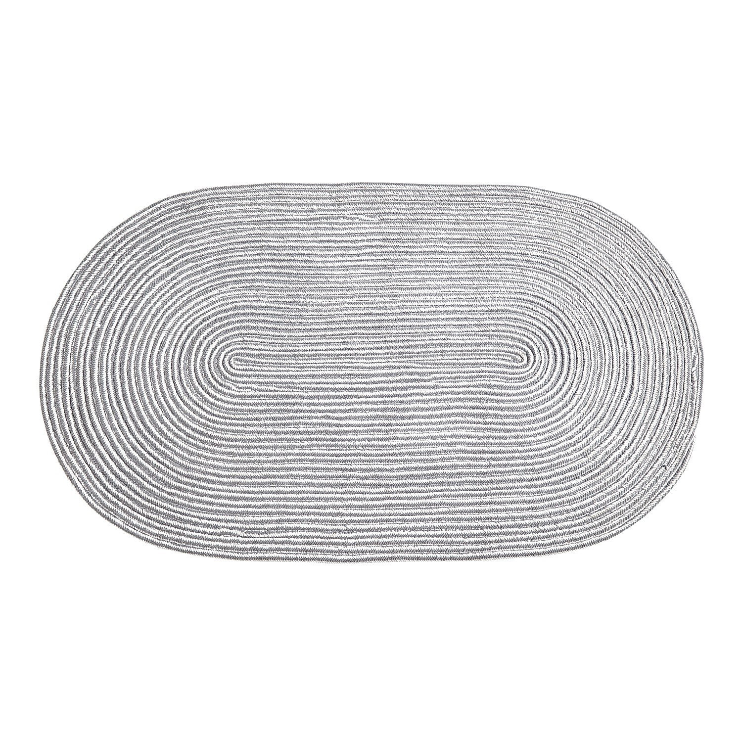 Chenille Braided Gray 3x5 Oval Rug