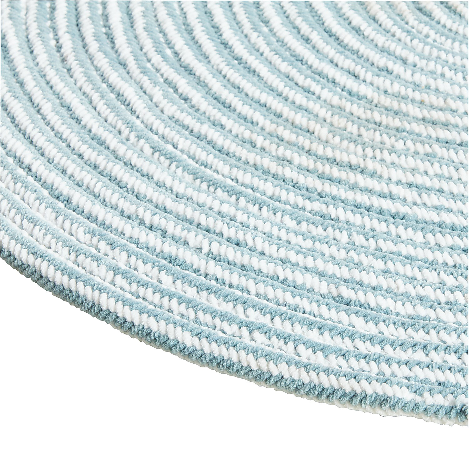 variation thumbnail of Chenille Braided Aqua 3x5 Oval Rug
