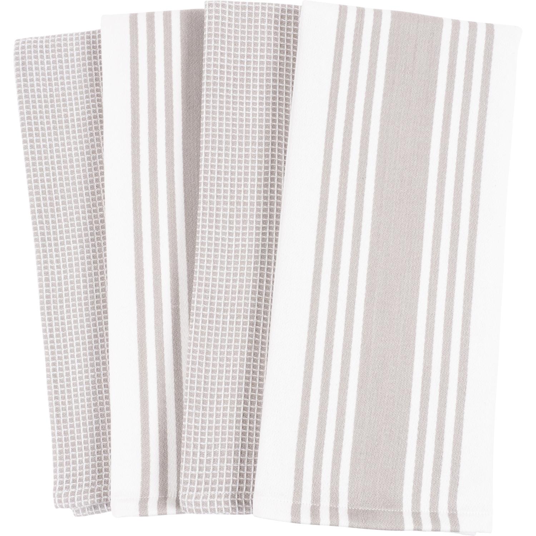 Gray Centerband & Waffle Kitchen Towels Set of 4