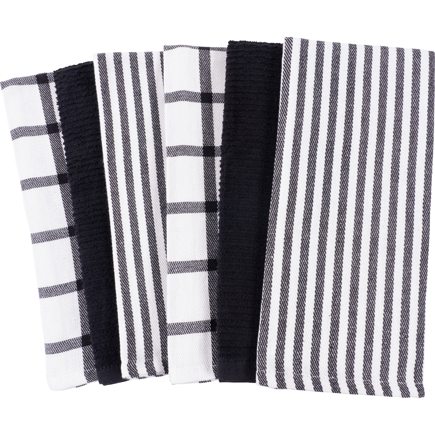 Black Mixed  Terry Kitchen Towel Set of 6