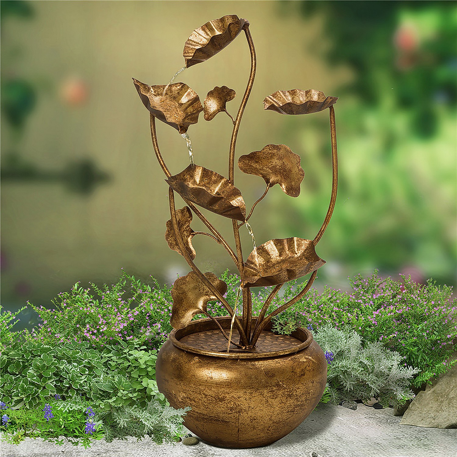 Aged Floral Water Fountain