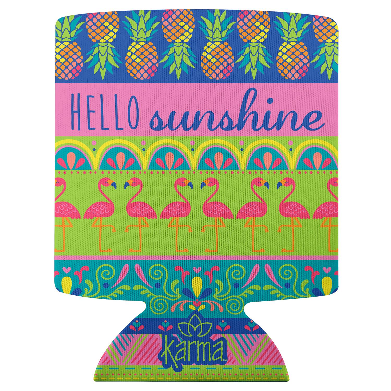 Hello Sunshine Flamingo Can Cooler